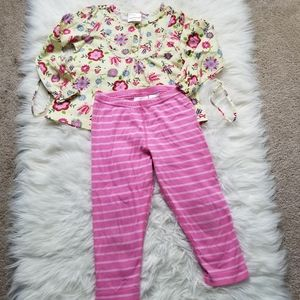 Hanna Andersson Girls Pant and Floral Top Set